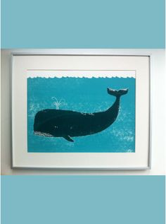 Limited Edition Hand Screened Print Signed and Numbered by the Artist Edition of on Heavy Cartridge Paper to the printing process each print may be slightly different. Whale Print, Nautical Nursery, Heart For Kids, Art Object, Sea Creatures, Screen Printing, Art Projects, Moose Art, Illustration Art