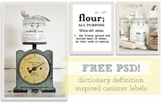 Free editable PSD Baking Canister Labels