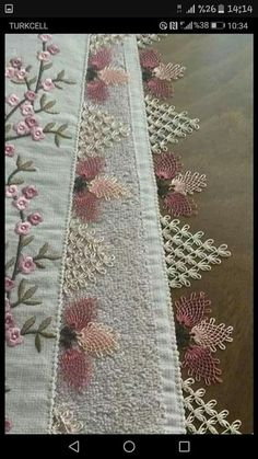 Needle lace Source by nurcannberkee Needle Lace, Needle And Thread, Baby Knitting Patterns, Hand Embroidery, Machine Embroidery, Tatting, Lace Runner, Decorative Towels, Filet Crochet