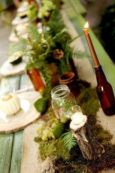 Woodland Wedding Decorations / http://www.deerpearlflowers.com/woodland-wedding-table-decor-ideas/2/