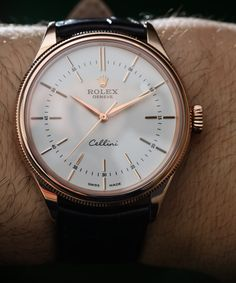 """Rolex Cellini Time Watch For 2016 With 'Clean Dial' Hands-On - by Ariel Adams - See more great shots at: aBlogtoWatch.com """"At Baselworld 2016, Rolex introduced a few new styles of the recently re-launched Rolex Cellini dress watch collection that we debuted back in 2014 upon its release. My favorite new-for-2016 Rolex Cellini is a new dial style for the time-only 'Cellini Time' model as seen here in the reference 50505 which is available in an 18k white gold or..."""""""
