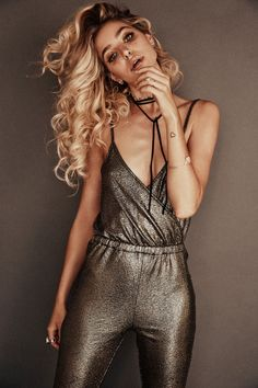 Gina Vaia wears 70s style metallic jumpsuits, beaded dresses and plunging necklines stars in Lili Claspe winter 2015 jewelry lookbook Photoshoot