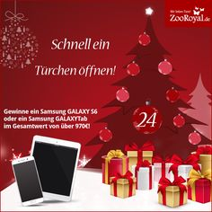 Aufgepasst! Heute ist eure letzte Chance, um in unserem #Adventskalender abzusahen. Öffnet schnell das letzte Türchen uns sichert euch mit etwas Glück die Chance auf ein Samsung GALAXY S6 oder ein Samsung GALAXYTab im Gesamtwert von über 970€!  Hier geht´s zum Türchen: http://www.zooroyal.de/zooroyal-adventskalender