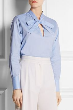 Valentino|Cotton-piqué pussy-bow shirt|NET-A-PORTER.COM