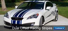 Dual Offset Racing Stripes -- think i wanna do the stripes for my car. Truck Decals, Racing Stripes, Hot Bikes, Custom Decals, Hot Cars, Race Cars, Vehicles, Ideas, Drag Race Cars