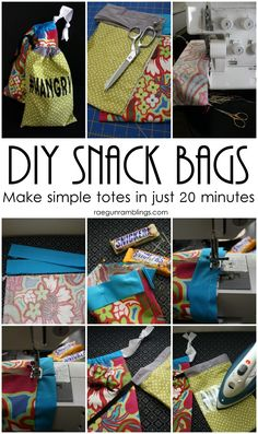 Fast and easy simple bags. Great beginner sewing project and good for using up fabric scraps. 20 min tutorial.