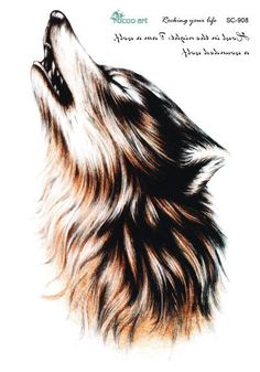 SC2908 Large 3D Sketch Horrible Brown Howl Wolf Head Designs Cool Chest Body