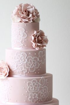 Brush embroidery wedding cake by Ivory & Rose Cake Co