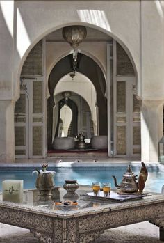 Lovely Moroccan riad. Such a soothing atmosphere! #Modern #MoroccanDecor…