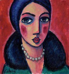 Mujer Vintage con collar/ Acrílico sobre cartón, 22x24 cm/ G. Martí Ceballos