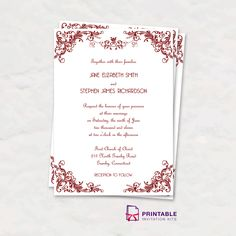 free pdf download - foliage border wedding invitation printable, Wedding invitations