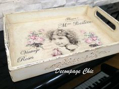 Vintage roses serving tray, distressed serving tray, shabby chic tray, kitchen decor, decoupage tray : Vintage Roses Serving Tray Nostalgic by JelenaDecoupageChic Shabby Chic Tray, Recycled Decor, Card Sentiments, Decoupage Vintage, Tray Decor, Vintage Roses, Diy Crafts To Sell, Painting On Wood, Decorative Boxes