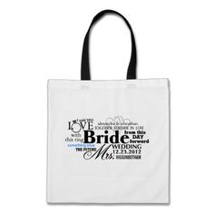 Bride Word Cloud Tote Bags -- This is a great gift idea for a bride. She can use it to carry stuff with her on her wedding night or us it on the honeymoon. Such a cute bag!