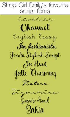Shop Girl Daily's Favorite Script Fonts