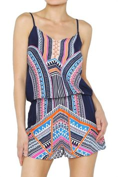 Another Lifetime Geometric Print Romper - Navy + Multi
