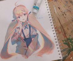 Anime Art Girl, Manga Art, Art Sketches, Art Drawings, Manga Watercolor, Drawn Art, Guache, Art Reference Poses, Copics