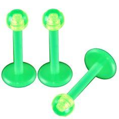 "$10.0 16g 16 gauge (1.2mm), 5/16"" Inches (8mm) long - Flexible Green Acrylic Lip Bar Labret Ring bulk Monroe Ear Tragus Stud Earrings with 3mm Green balls lot AQXL - Pierced Jewelry Body Piercing Jewellery- Set of 3From bodyjewellery $10.0"