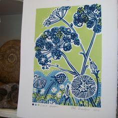 Seed Bloom  lino print.