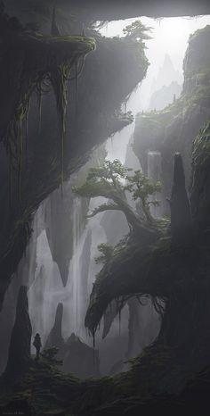 Ideas Fantasy Landscape Drawing Rpg For 2019 Fantasy Concept Art, Fantasy Artwork, Fantasy Places, Fantasy World, Landscape Concept, Landscape Art, Valley Landscape, Landscape Wallpaper, Fantasy Art Landscapes