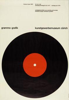 Gottlieb Solland, Exhibition poster grammo-grafik, Recorded Music Graphics , 1957. Kunstgewerbemuseum, Zürich.