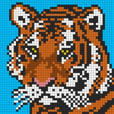 Tiger Face For Perler Or Square Stitch Perler Bead Pattern / Bead Sprite