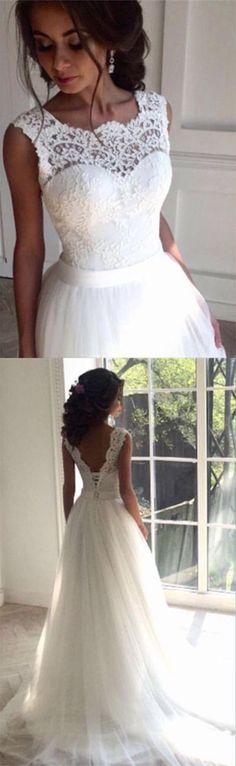 Simple Wedding Dress,Charming wedding dress, lace wedding dress, Tulle White wedding dress,cheap wedding gown,bridal wedding dress