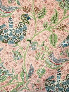 """Gibbie Coral 21086 31 Tilton Fenwick Fabric, exclusive New York decorator collection. 95% cotton, 5% linen up the roll Jacobean floral fabric. Beautiful drapery fabric or light use upholstery fabric. Repeat; V 27"""", H 26"""". 54"""" wide"""