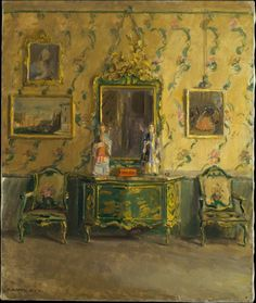 ◇ Artful Interiors ◇ paintings of beautiful rooms - Walter Gay ~ The Green Lacquer Room, Museo Correr, Venice, A4 Poster, Poster Prints, Interior Rendering, Vintage Artwork, Interior Paint, Interior Goods, Interior Design, Room Paint, American Artists