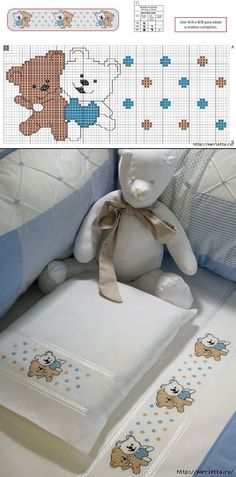 Cute Cross Stitch, Cross Stitch Designs, Cross Stitch Patterns, Baby Quilt Size, Baby Quilts, Baby Embroidery, Cross Stitch Embroidery, Baby Sheets, Tatty Teddy