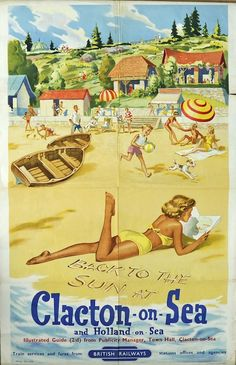 Vintage Travel 1955 Henry Stringer Clacton on Sea British Railways Poster. Really, I don't remember Clacton looking like this! Posters Uk, Train Posters, Railway Posters, Vintage Travel Posters, Vintage Postcards, Vintage Ads, Retro Posters, Vintage Witch, Old Poster