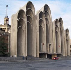 structure name: Andropov's Ears location: Tbilisi, Georgia date completed: 1983 architect: O. Kalandarishvili and G. Concrete Architecture, Ancient Architecture, Amazing Architecture, Architecture Details, Landscape Architecture, Interior Architecture, Brutalist Design, Brutalist Buildings, Interesting Buildings