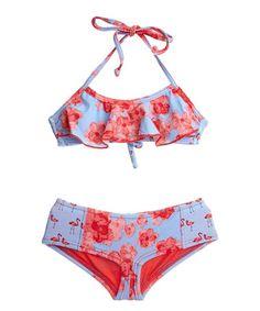 Loving this Blue & Pink Rose Bikini - Toddler & Girls on #zulily! #zulilyfinds