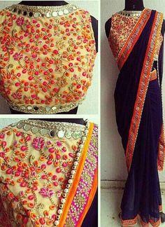 Nay Blue Embroidery Thread Resham Work Mirror Work Georgette Designer Sarees http://www.angelnx.com/Sarees/Party-Wear-Sarees