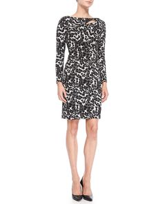 Printed Dress with Slash Detail