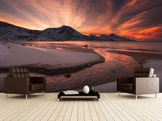 Golden Sunset wall mural room setting
