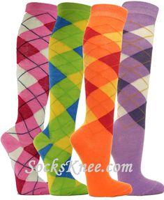 Argyle Knee socks for Women Orange Socks, Green Socks, Blue Socks, Ladies Golf, Pink Ladies, Women Golf, Striped Tube Socks, Argyle Socks, Zapatos