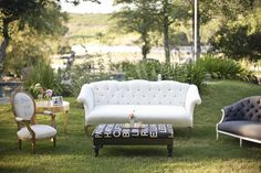 Outdoor entertaining.  Love the bus roll ottoman, too.