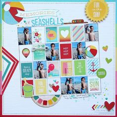 Memories of Seashells - Scrapbook.com - Include 7 small photos on one layout.