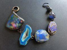 Jugaad. Cobalt blue assemblage bracelet. by fancifuldevices
