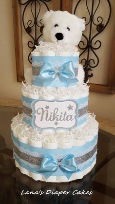 3 Tier White Polar Bear Diaper Cake, Blue And Silver Baby Shower Centerpiece, Baby Shower Cakes, Baby Shower Niño, Baby Shower Diapers, Baby Shower Gifts, Baby Gifts, Dipper Cakes, Penguin Baby Showers, White Polar Bear, Diaper Cake Boy