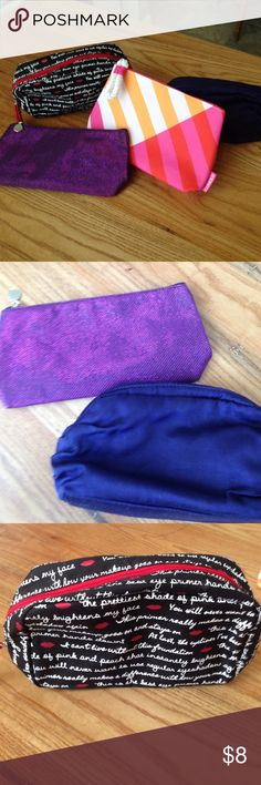 Cosmetic bags This listing is for four makeup bags. The two purple bags are from Lancôme, the black with writing bag is from Laura Gellar, and the last bag is from Clinique. Never used, clean, zippers in perfect condition. Bags Cosmetic Bags & Cases