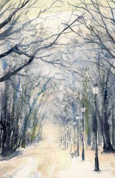 watercolor showing winter skies Watercolor Painting Techniques, Watercolor Drawing, Watercolor Landscape, Landscape Art, Landscape Paintings, Watercolor Paintings, Watercolors, Landscapes, Art Tutor