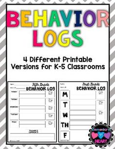 Look no further! These behavior logs are easy to use! You know your students best.  Use these behavior logs as you please! There are 4 different versions included (Kindergarten- Fifth Grade, and some are not grade specific too!)  How Do I Use This? Again, it is entirely up to you!