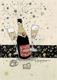 Champagne - Bug Art greeting card