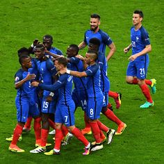 Players of France clicked during UEFA Euro Cup 2016 quarterfinal match. Paul Pogba scored the second goal against Iceland on 03/07/2016.