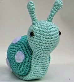 PATRON GRATIS CARACOL AMIGURUMI 11827 Crochet Patterns Amigurumi, Crochet Toys, Crochet Baby, Free Crochet, Knit Crochet, Crochet Fish, Knitted Animals, Knitted Dolls, Stuffed Animal Patterns
