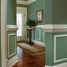 Chair Rail Ideas Two Tone.Two Tone Gray Hallway Hallway Decorating Hallway Paint . 30 Best Chair Rail Ideas Pictures Decor And Remodel . Contemporary Bathroom In Historic Home CenterBeam . Home and Family Flur Design, Plafond Design, Room Colors, House Colors, Dining Room Wainscoting, Wainscoting Panels, Wainscoting Ideas, Wall Molding, Molding Ideas