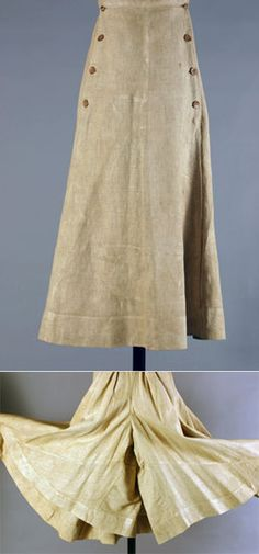 This fashionable and expensive linen skirt, dating from the late 1890s, is divided into two wide leg sections to facilitate the new craze of bicycle riding.