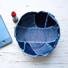 Recycle old jeans into a cute new denim bowl. Instructions use glue, but I think I'd like to baste and then reinforce with decorative stitching.