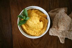 Sweet potato hummus.  Good way to get more nutrients and less calories in hummus (since I eat the whole thing of hummus at once, maybe it will help me to not eat so much).